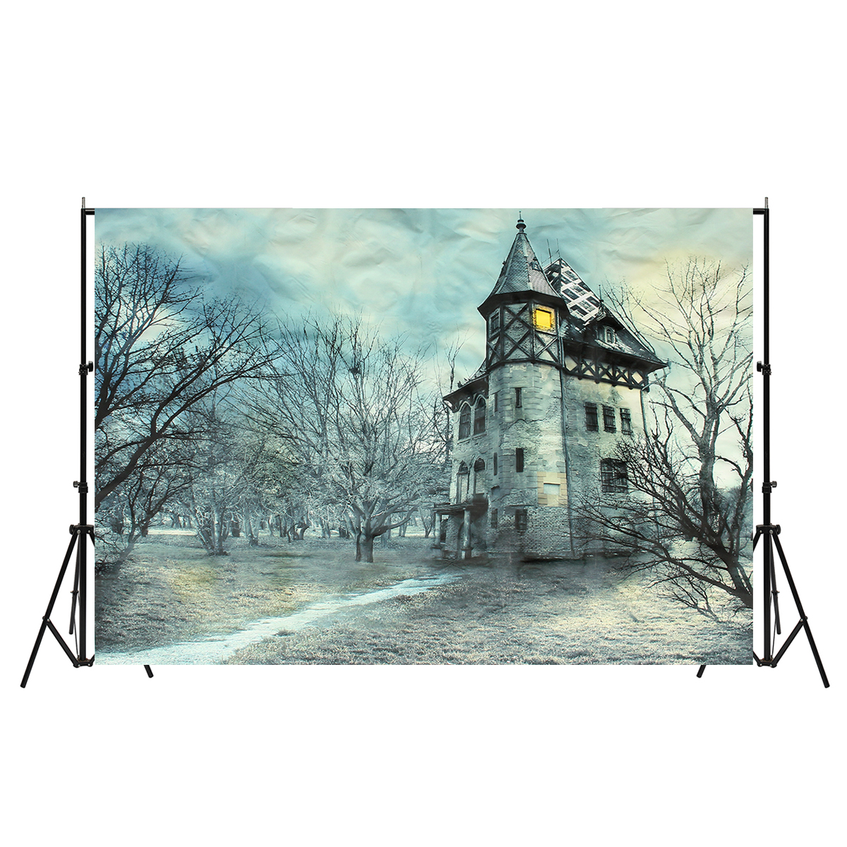 5x7ft 7x5ft Fairy Tale Winter Spring Sky Castle Photography Backdrop Studio Prop Background
