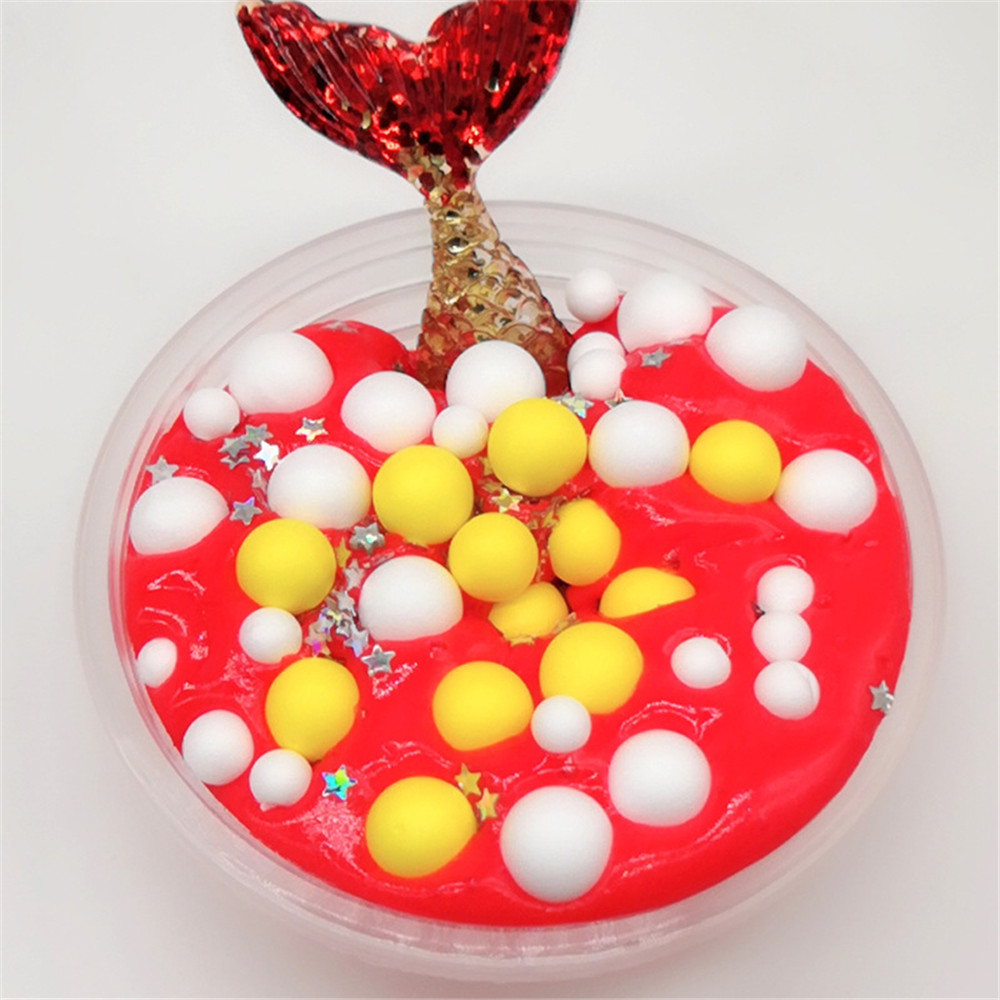 60ML Slime DIY Mermaid Cotton Mud Foam Ball Ocean Crystal Decompression Mud DIY Gift Toy