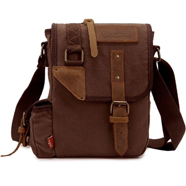 f8434c3923 ... Augur Men s Vintage Genuine Leather Canvas Leisure Shoulder Bag  Crossbody ...