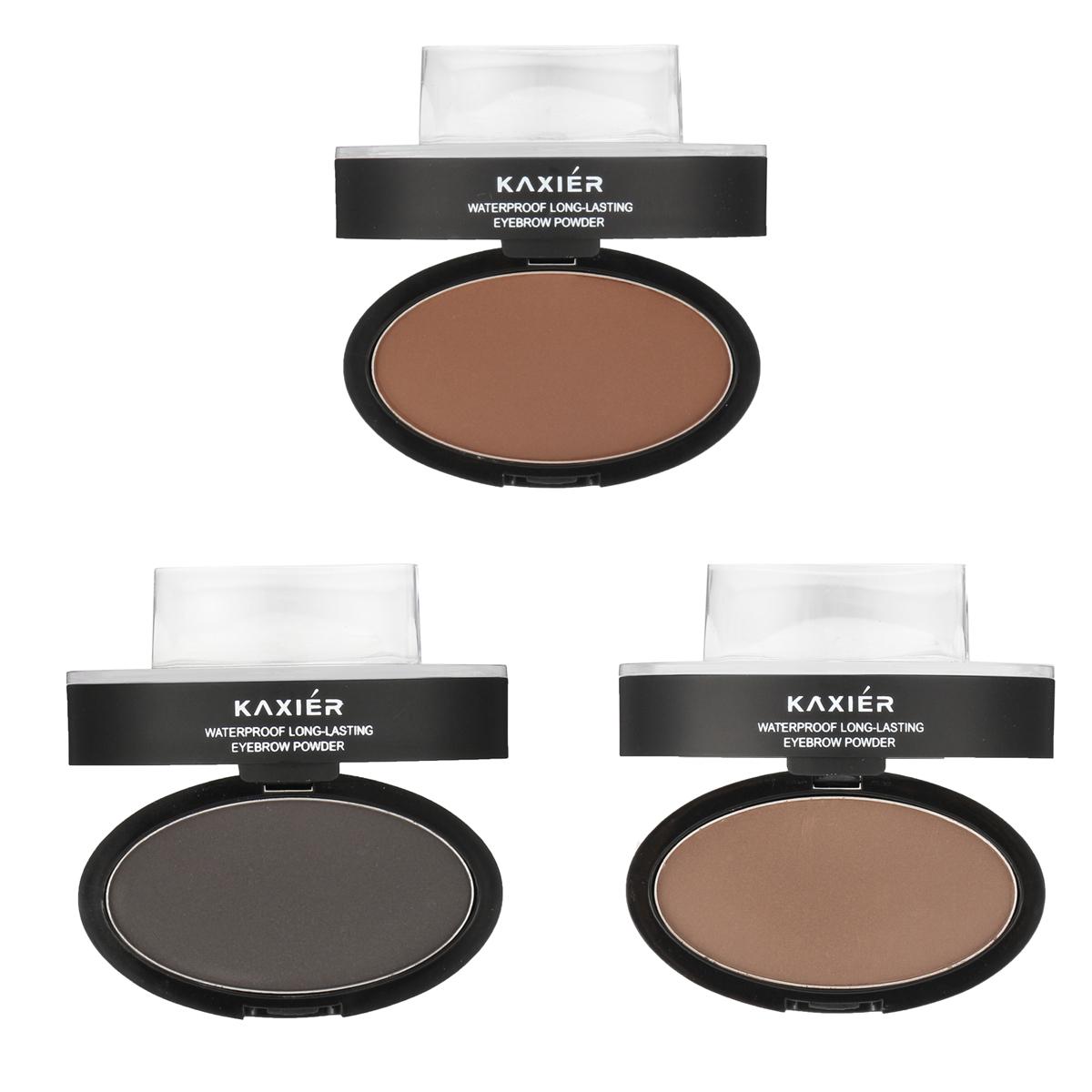KAXIER Brow Stamp Eyebrow Powder Set Makeup Brush Waterproof Long Lasting Cosmetic Dark Grey Brown