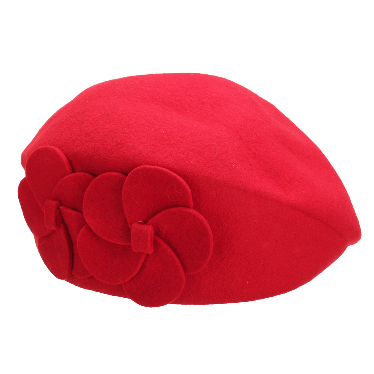 Women Ladies Wool Beanie Cap Warm Fedoras Felt Flower Beret Ski Tam Hat