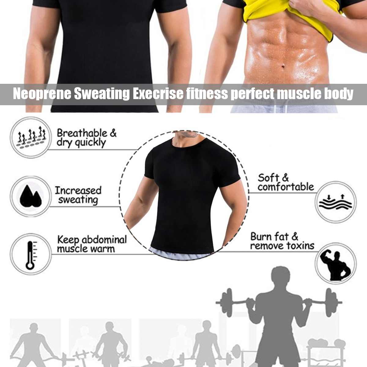 Sweat Sauna Suit Body Shaper Men Vest Thermo Neoprene Trainer Sliming Waist Belt Tracksuit Short Sleeve