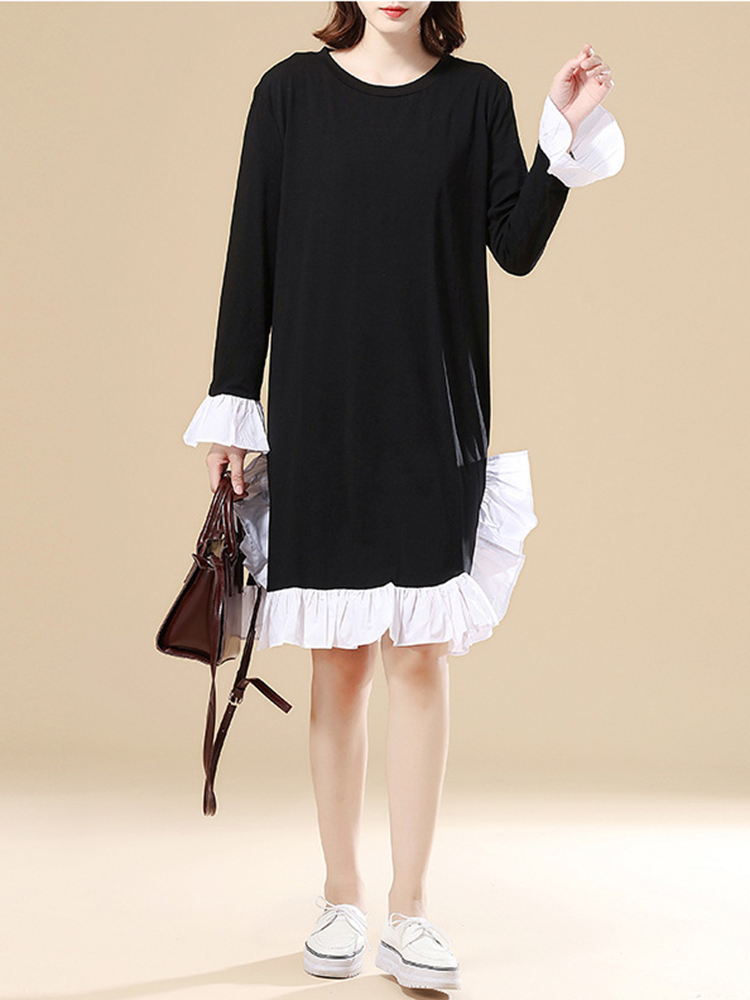Casual Lotus Leaf Hem Loose O-neck Women Dress