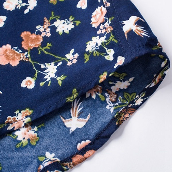 Spring Autumn Floral Pattern Printing Long-sleeved Men Casual Cotton Shirt