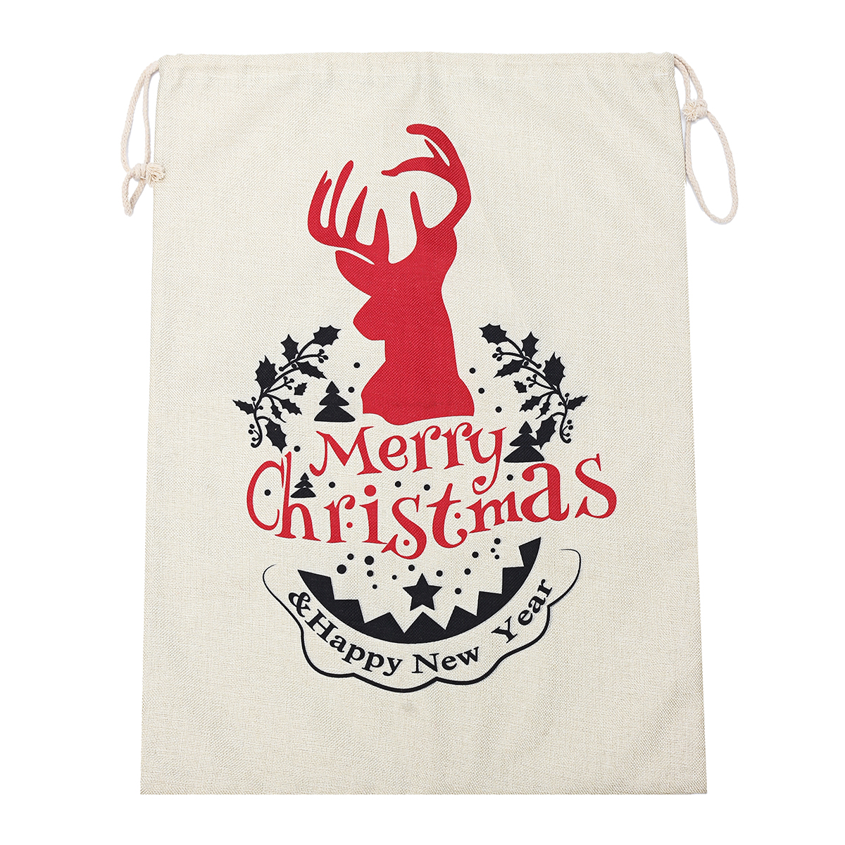 Large Christmas Hessian Santa Sack Stocking Bag Reindeer Gifts Bag Kitchen Storage Container