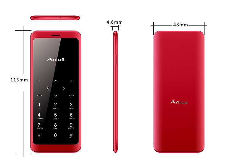 Anica T10 1.54 Inch 450mAh Intelligent Anti-lost Dual SIM bluetooth MP3 Ultra Thin Mini Card Phone