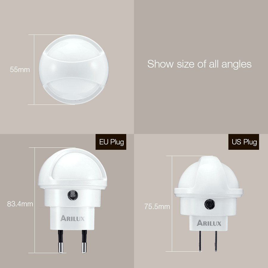 ARILUX® 360 Degree Rotation Smart Light Sensor LED Plug-in Wall Night Lamp for Bedroom