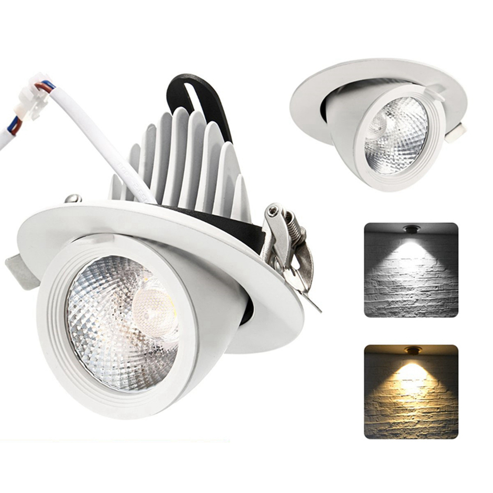 5W 12W Dimmable LED COB Ceiling Down Lamp Adjustable Spot Light Mount Fixture