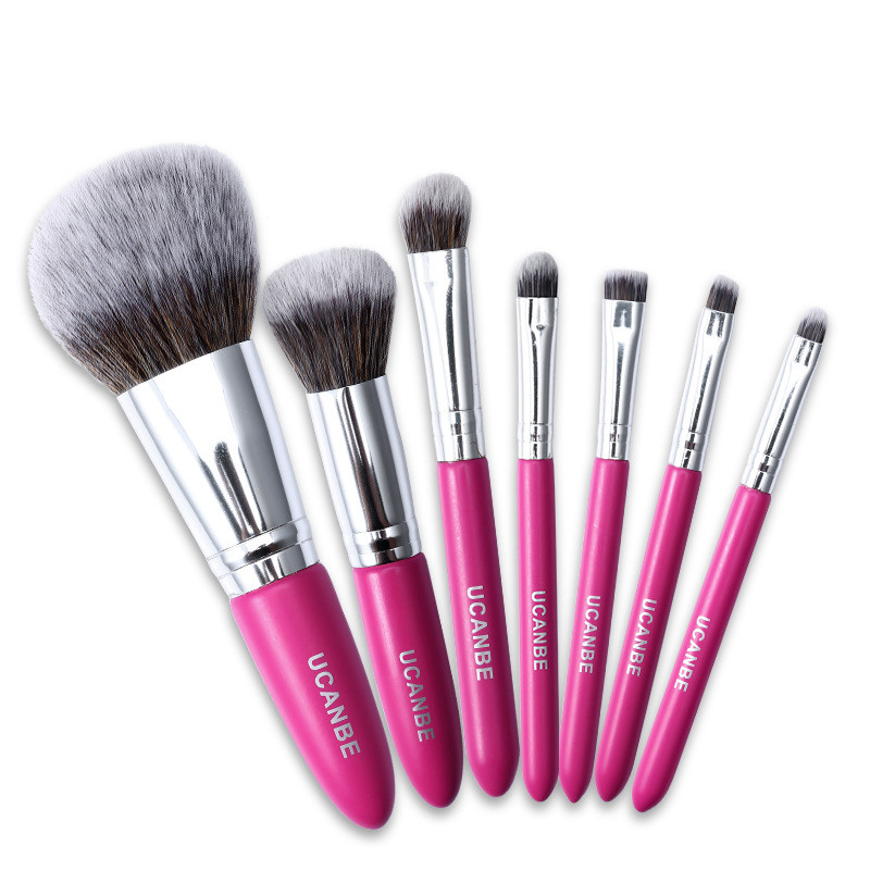 7pcs Makeup Brushes Kit Powder Brush Eye Shadow Foundation Blend Contour Rose Red Wooden