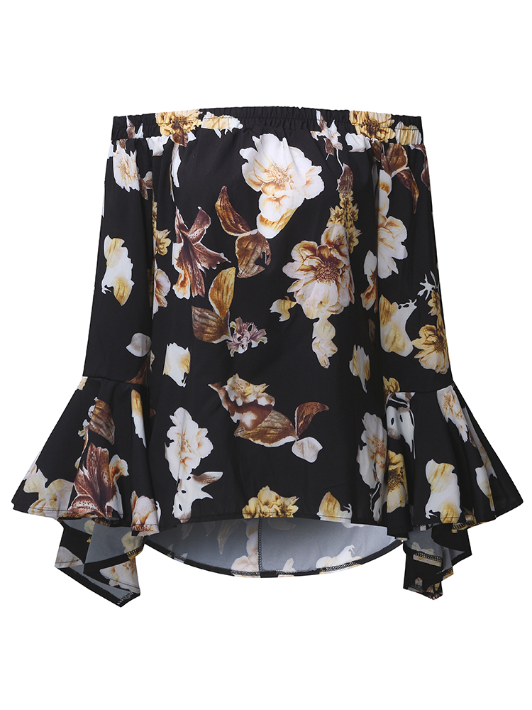 Sexy Women Floral Printed Off Shoulder Long Sleeve Blouses