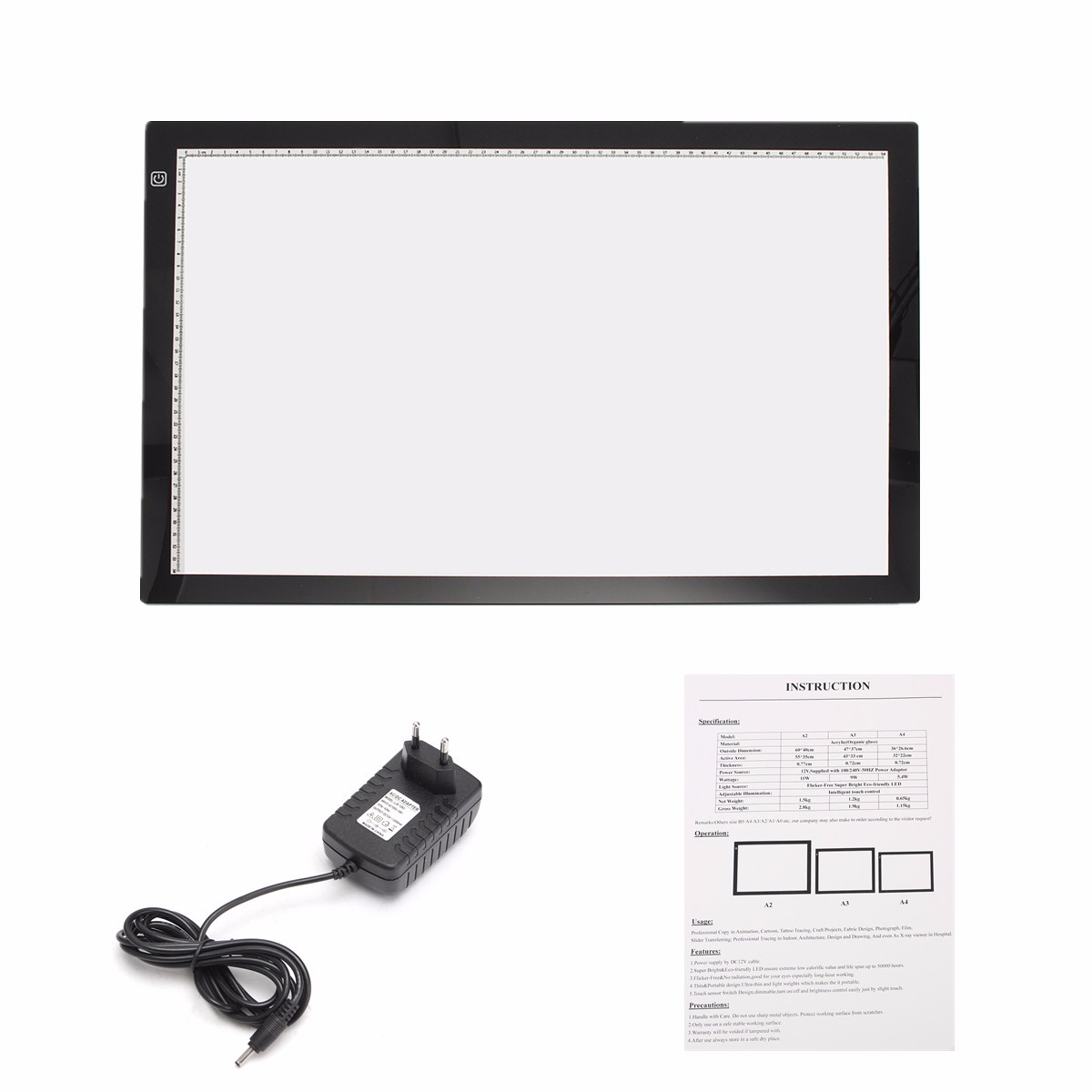 A2 Dimmable Thin LED Art Stencil Tracing Drawing Board Light Pad Touch Sensor