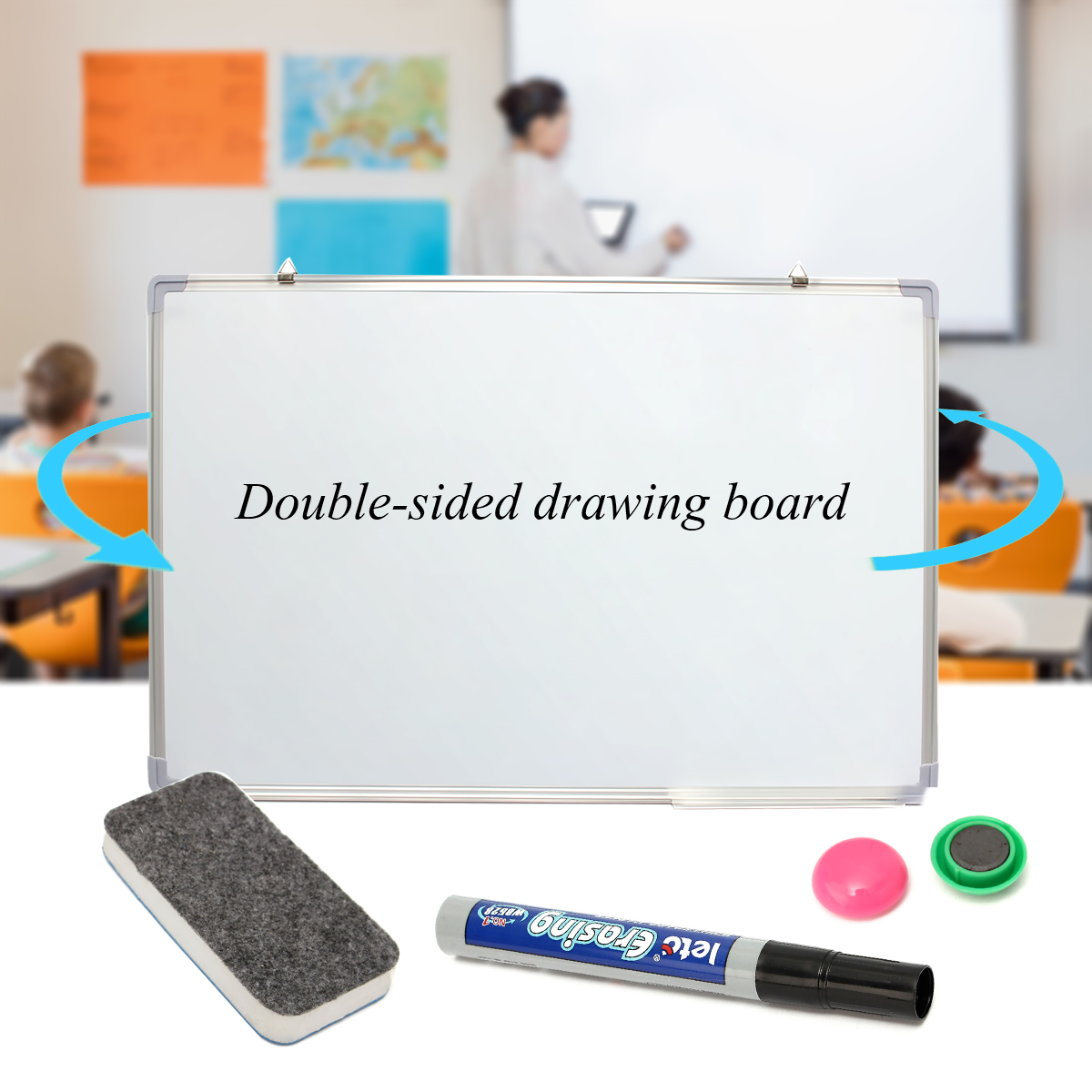 magnetic dry wipe whiteboard portable office school notice drawing rh banggood com