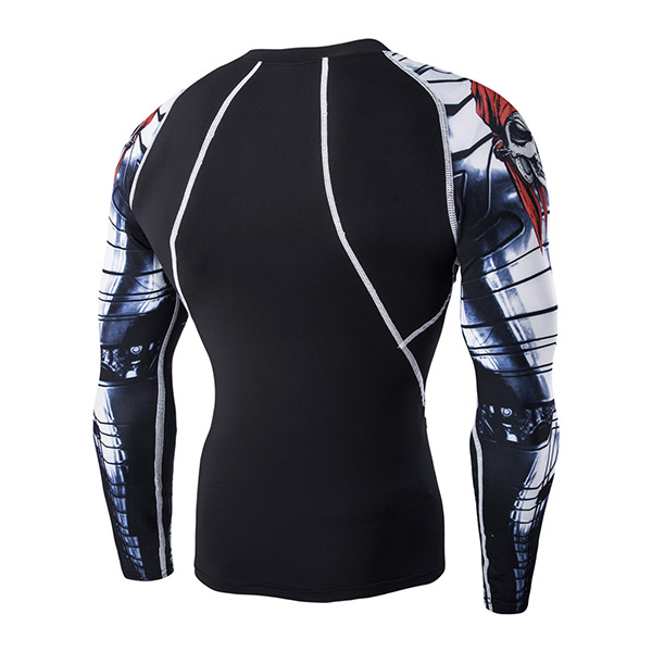Mens Quick Dry Skull Arms Printing Fitness Long Sleeve T-shirt Skin Tight Gym Training Boxing T-shir