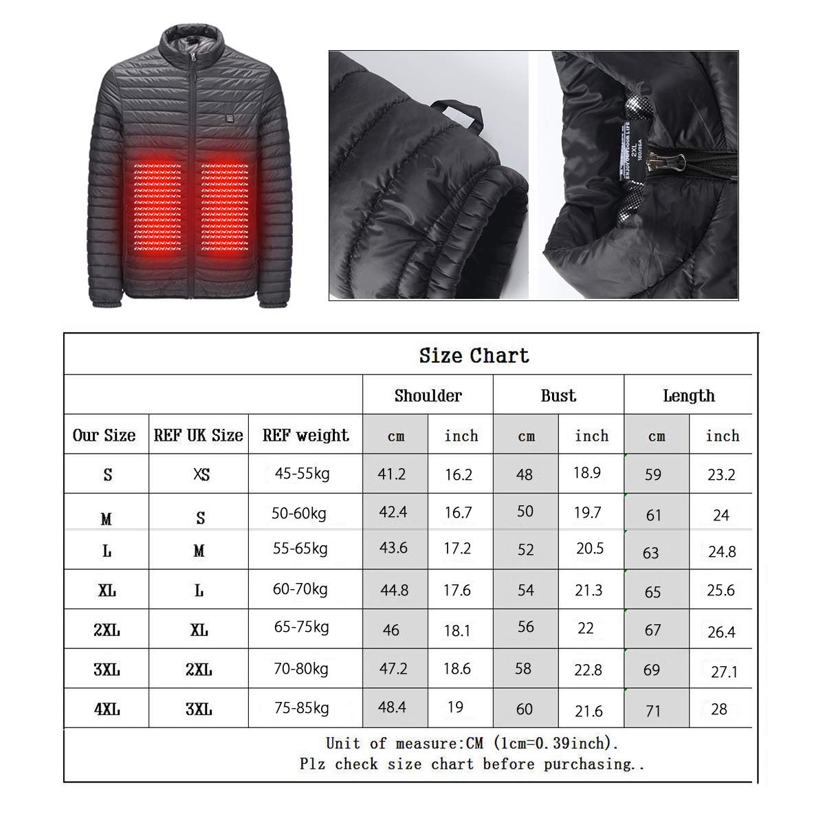 USB Electric Heated Coats Heating Vest Parka Winter Puffer Jacket Outwear
