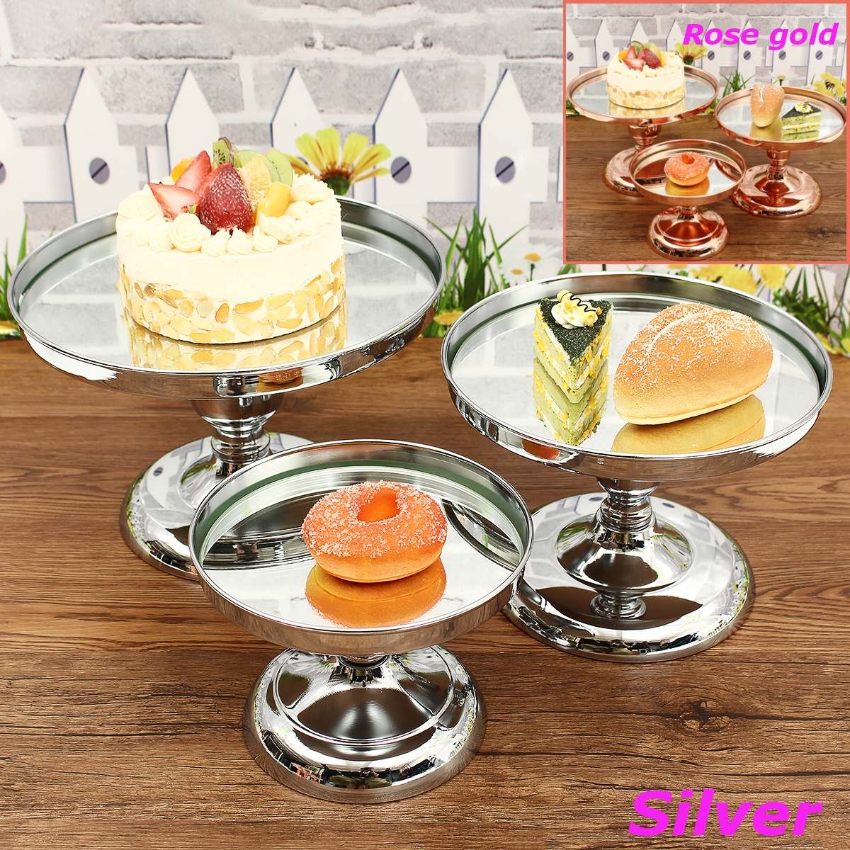 20/25/30CM Metal Cake Cupcake Food Stand Round Wedding Party Display Holder Decorations