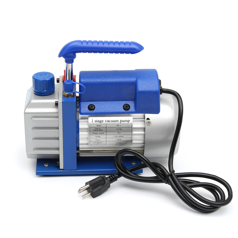 110V 180W 3CFM Single-stage Rotary Vane Vacuum Pump A/c Air Refrigerant 1/4HP Air Conditioning Tool