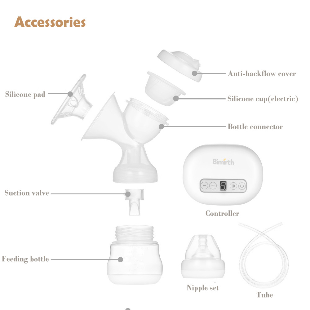 Bimirth Portable Mini Electric Breast Pump Set Nipple Milk Bottle Sucking Automatic Massage Breast Feeding BPA Free USB