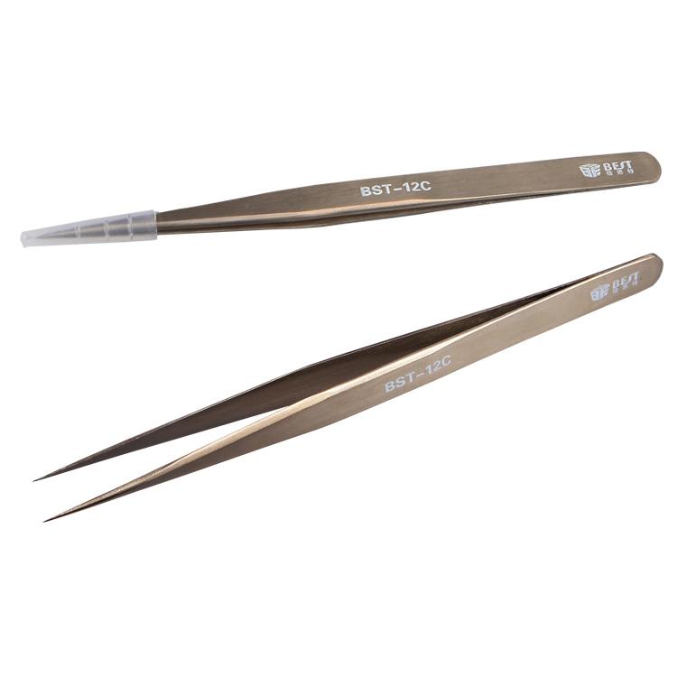 BEST BST-12C Mobile Phone Repair Tools Stainless Steel Pointed Tweezer Anti-magnetic Anti-acid