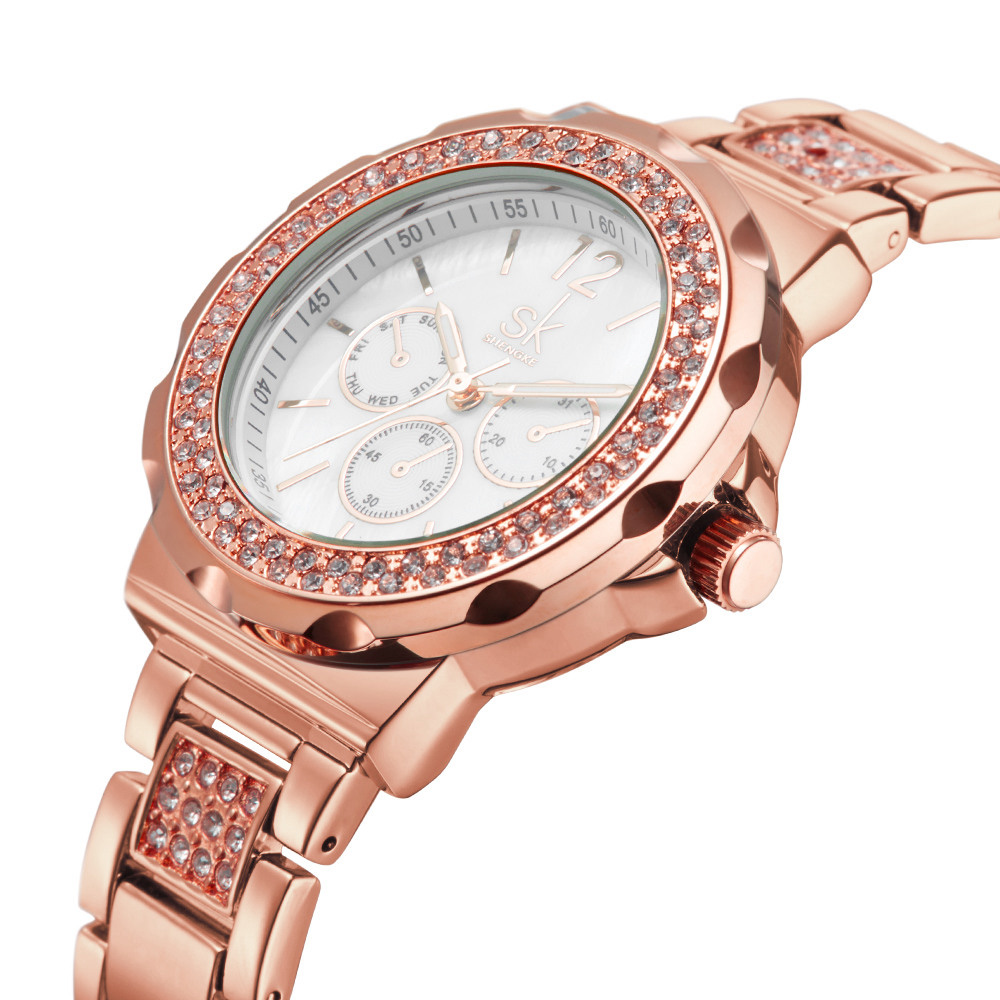 SK K0032 Rhinestones Stainless Steel Rose Gold Women Watch