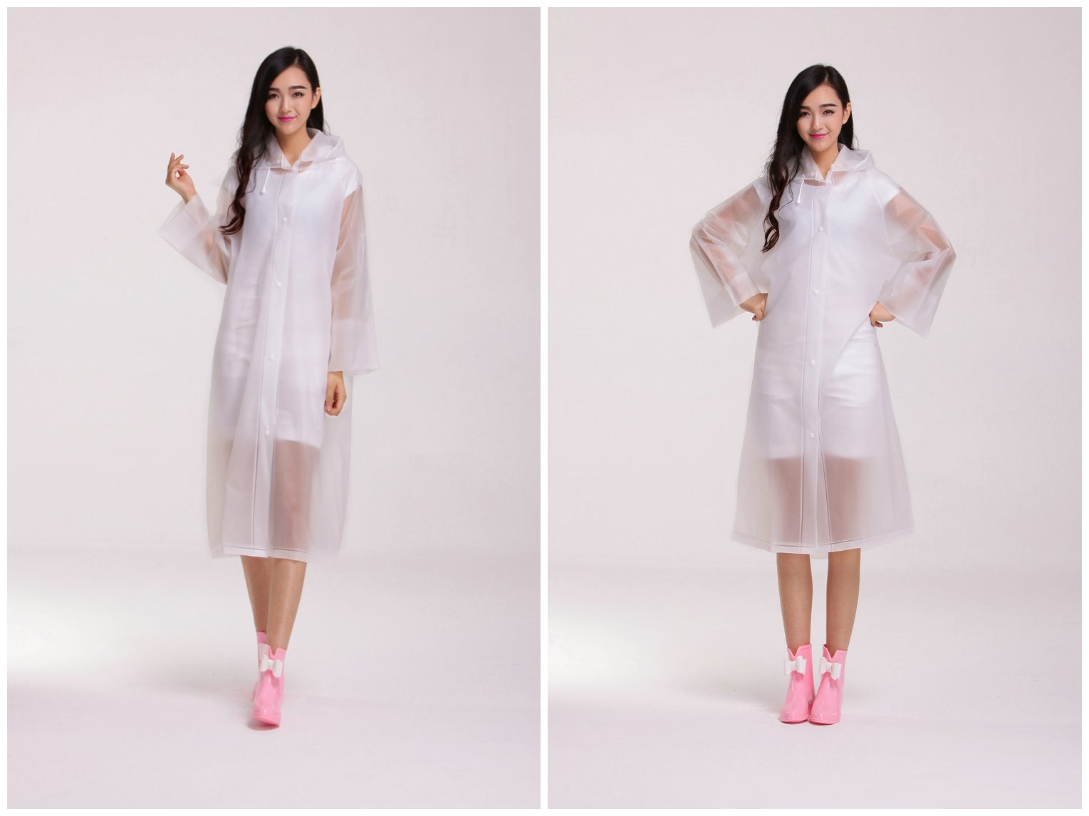 Women Thickened EVA SemiTransprent Rain Coat Rainwears Korean Style Hood Sleeves Bright Color