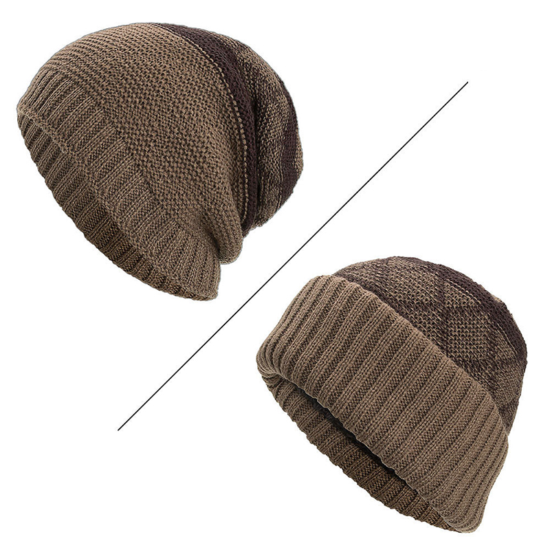Plaid Fleecy Curlable Beanie Caps Double Layers Knitted Hat