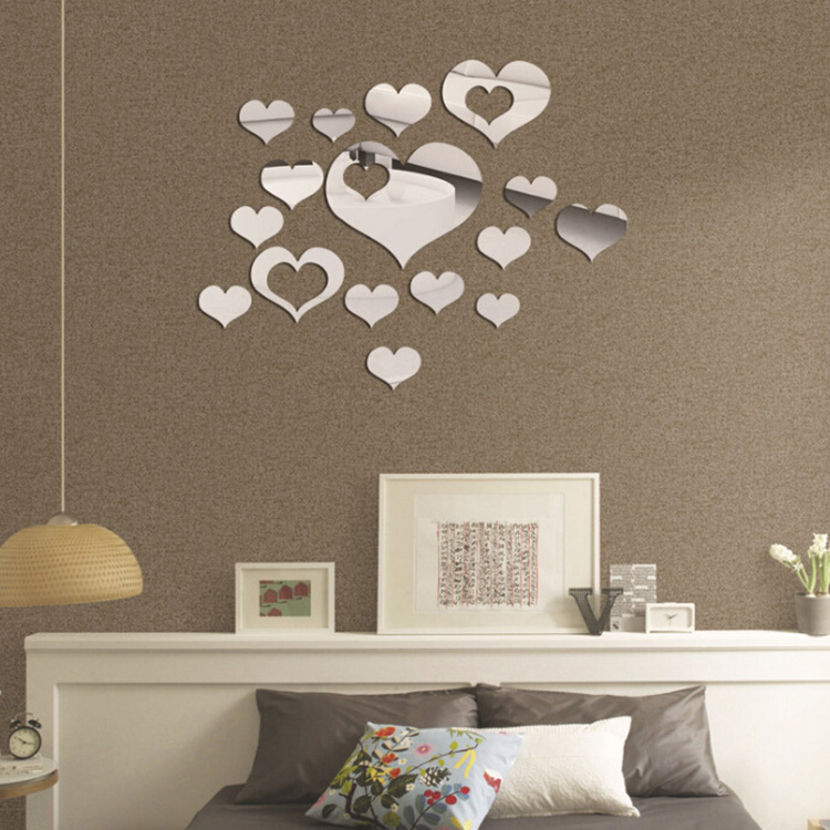 Honana DX-Y2 16Pcs Cute Silver DIY Heart Mirror Wall Stickers Home Wall Bedroom Office Decor