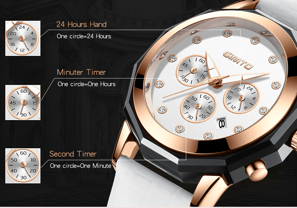 GIMTO GM248 Calendar Rose Gold Case Crystal Women Watch