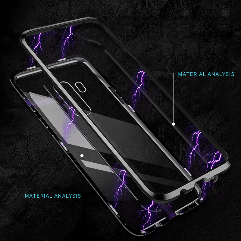 Bakeey Magnetic Adsorption Aluminum Tempered Glass Protective Case for Samsung Galaxy S9/S9 Plus/Note 8/S8/S8 Plus/S7/S7 Edge