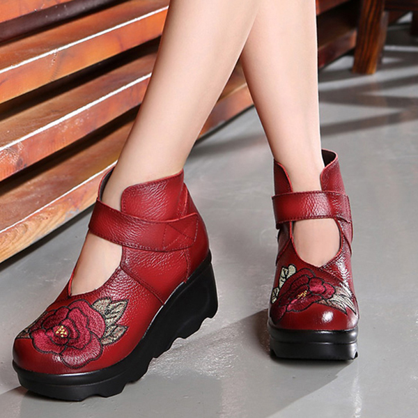 SOCOFY Women Embroidery Hook Loop Wedge Shoes