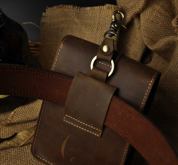 Leather Men Outdoor Camera Phone 7-inch Small Pockets Waist Bag