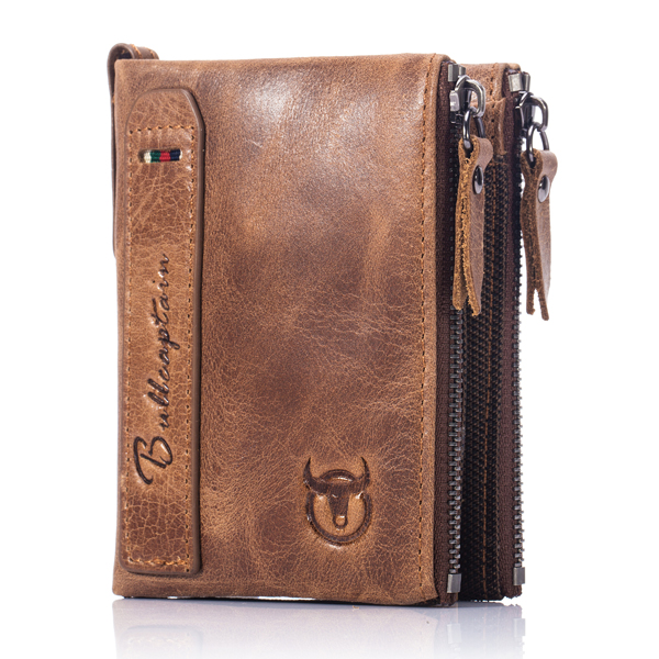 Bullcaptain® Men Zipper Minimal Wallet Genuine Leather Short Wallet Vintage Coin Bag