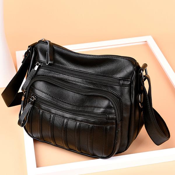 Women Vintage PU Leather Crossbody Bag Multi-pockets Shoulder Bag