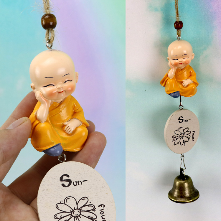 Monks Resin Wind Chimes Home Ornament Decorations Wind Chimes Baby Children Gift Pastoral Hanging