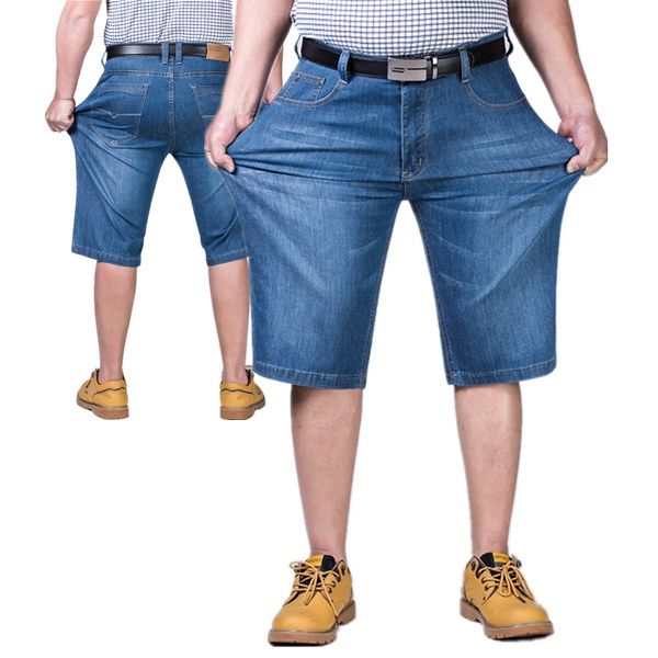 Plus Size Men Summer Stretch Jeans Casual Loose Thin Shorts Knee Length Straight Jeans