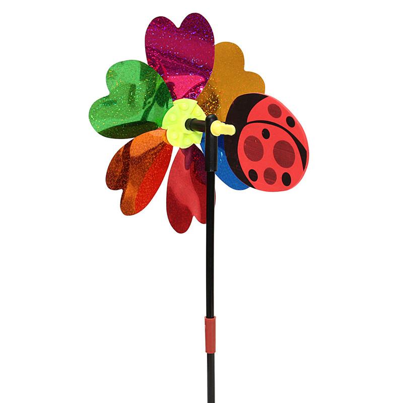 DIY Cute Ladybug Windmill Random Color Lawn Garden Yard Home Decor Pinwheel Wind Spinner Whirligig Toy