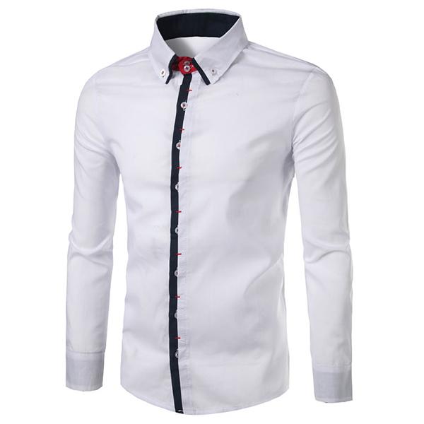Pánské kontrastní barvy Módní dvojitý límec kravaty s dlouhým rukávem Slim  Fit s dlouhým rukávem košile 96bb9e6e44