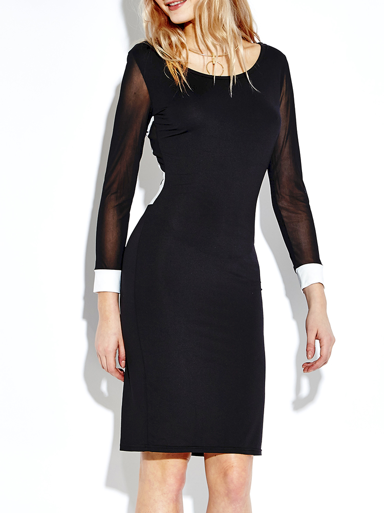Hollow Out Bodycon Dress Long Sleeve Sexy Contrast Color Dress