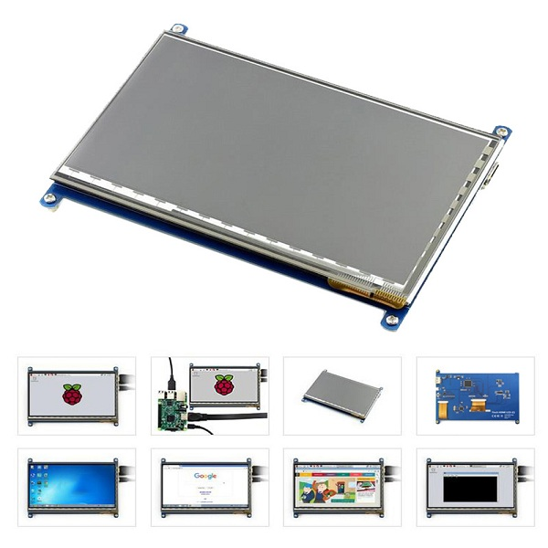 7 Inch 800 x 480 HD Capacitive IPS LCD Display 5 Point Touch Screen For Raspberry Pi 3 Model B / 2B / B+