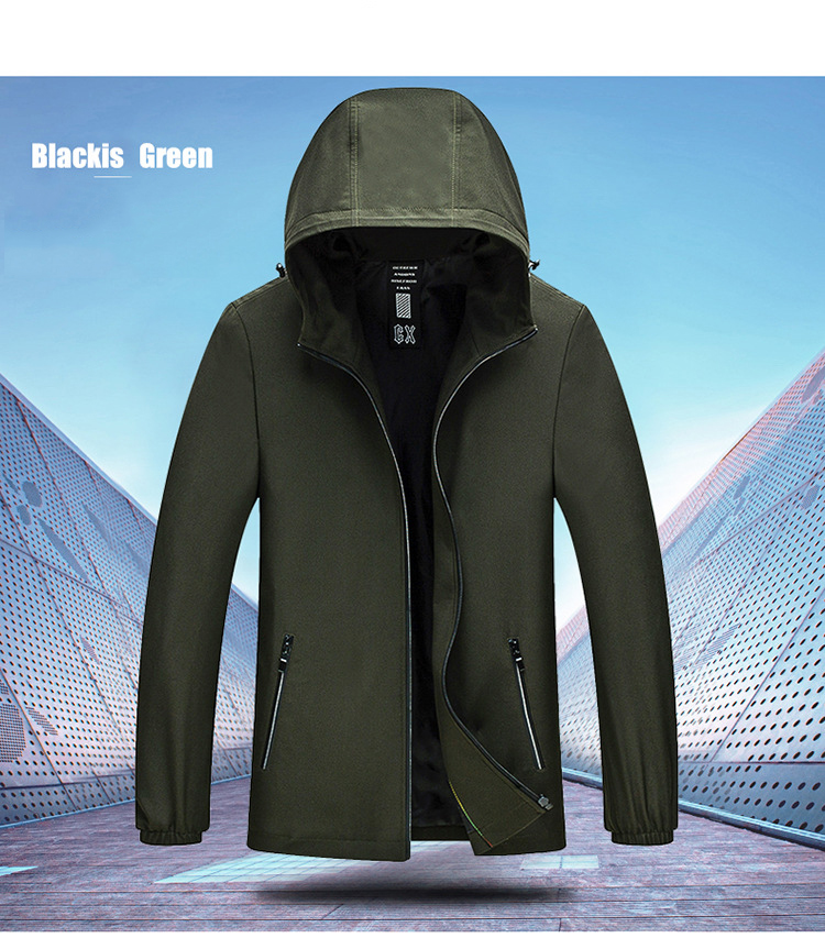 Pure Color Zipper Hooded Spring Autumn Casual Jacket for Men