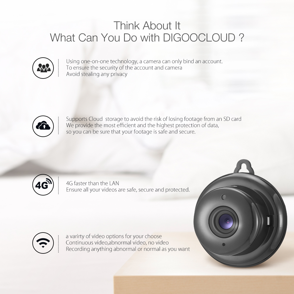 DIGOO DG-MYQ Amazon Web Service Cloud Storage 2.1mm Lens 720P WIFI Night Vision Two-way Audio Smart Home Security IP Camera Motion Detecting Alarm Support Onvif Monitor
