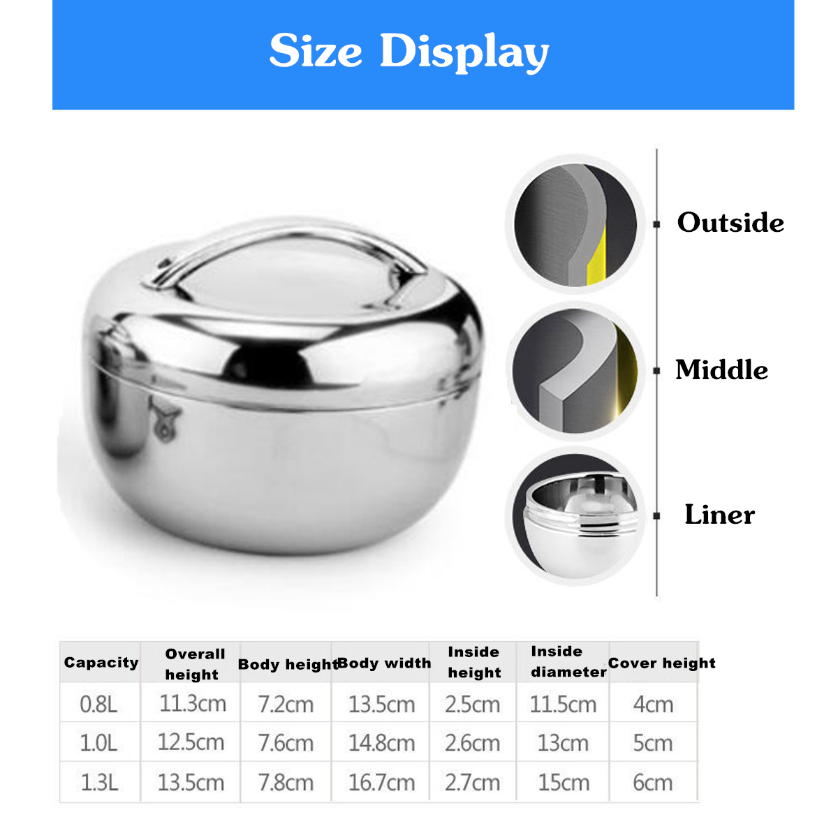 0.8/1/1.3L 2 Layer Stainless Steel Lunch Box Insulated Bento Box Food Storage