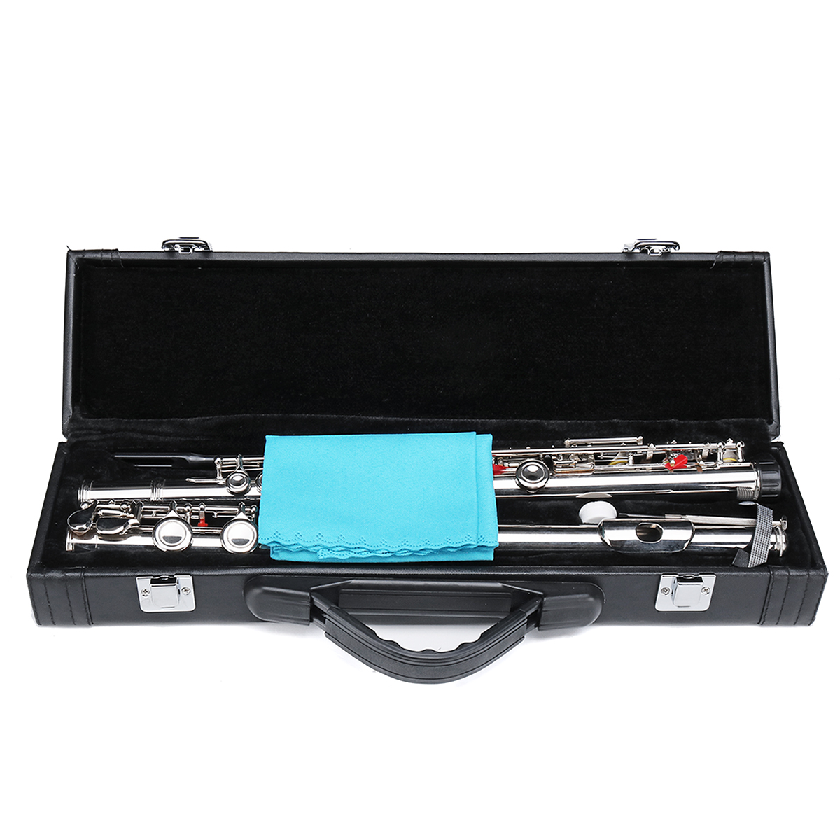 16 Holes C Key Colored Flute Nickel Plated Silver Tube Woodwind Instrument with Box