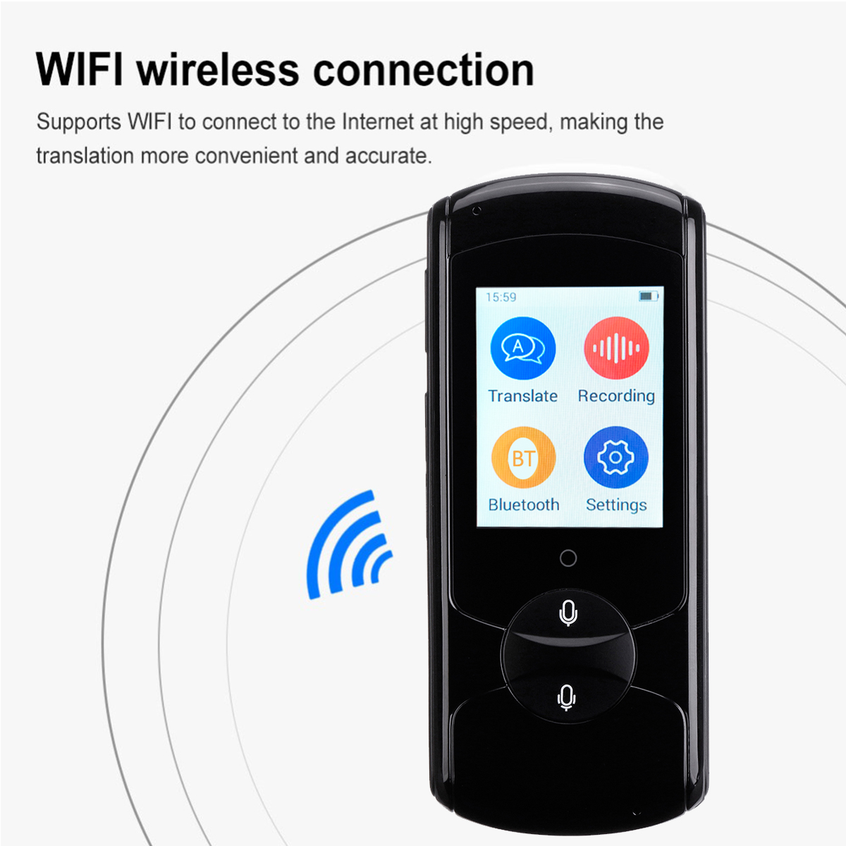 2.4 Inch Instant Touch Screen Smart Voice Translator Real Time WiFi 41 Languages HiFi Speaker Travel Meeting