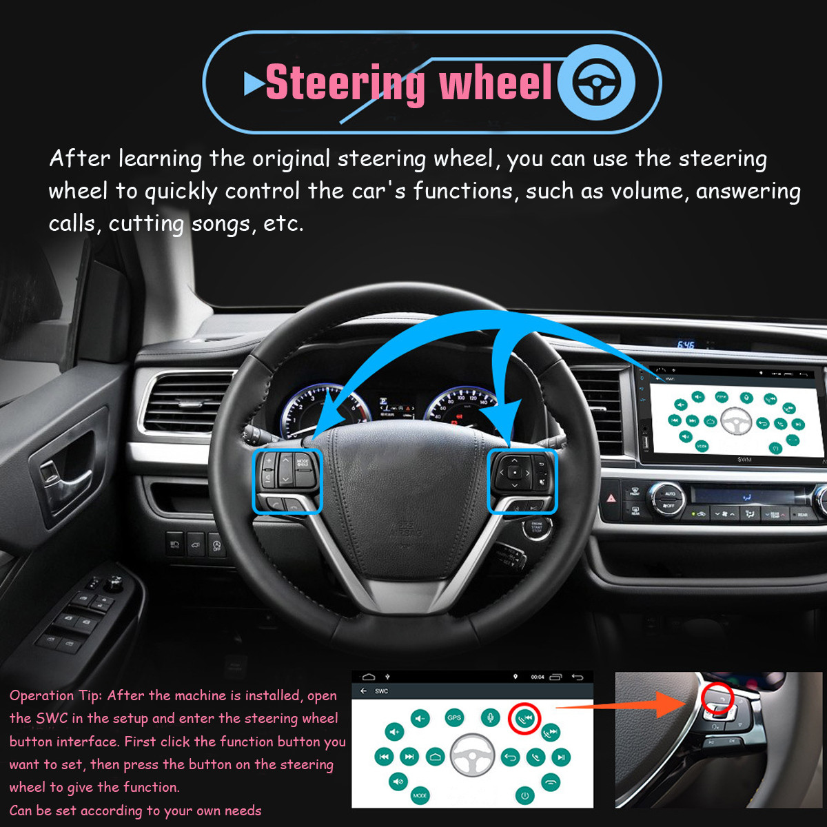 7 Inch Android 8.1 Touch GPS WiFi Steering Wheel Control Mobile Internet Car MP5 Player