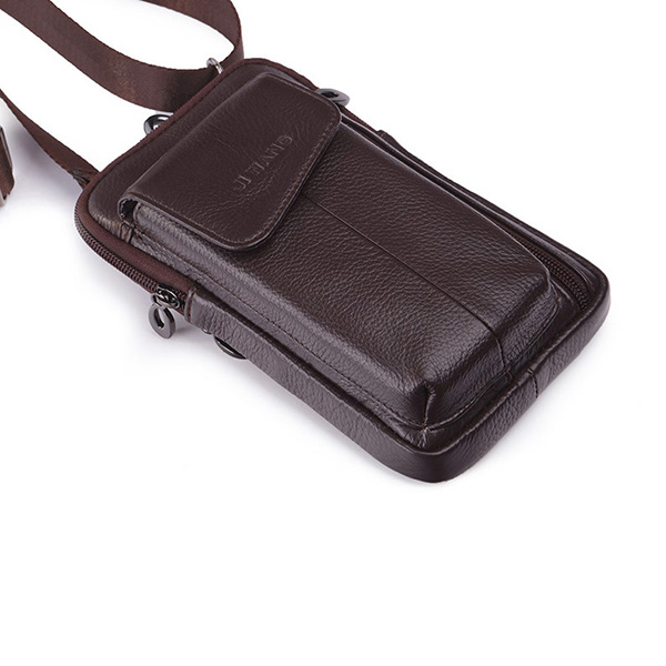 Genuine Leather Business Multi-functional 7 Inch Waist Bag
