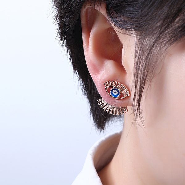 Trendy Eye Eyelash Ear Stud Earrings Silver Rose Gold Plated