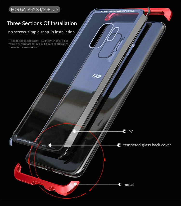 Luphie Metal Bumper+9H Clear Tempered Glass Back Shell Protective Case For Samsung Galaxy S9 Plus