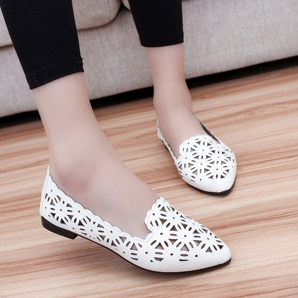 Women Casual Chic Shoes Breathable Hollow Out Loafers Pointed Toe Flats