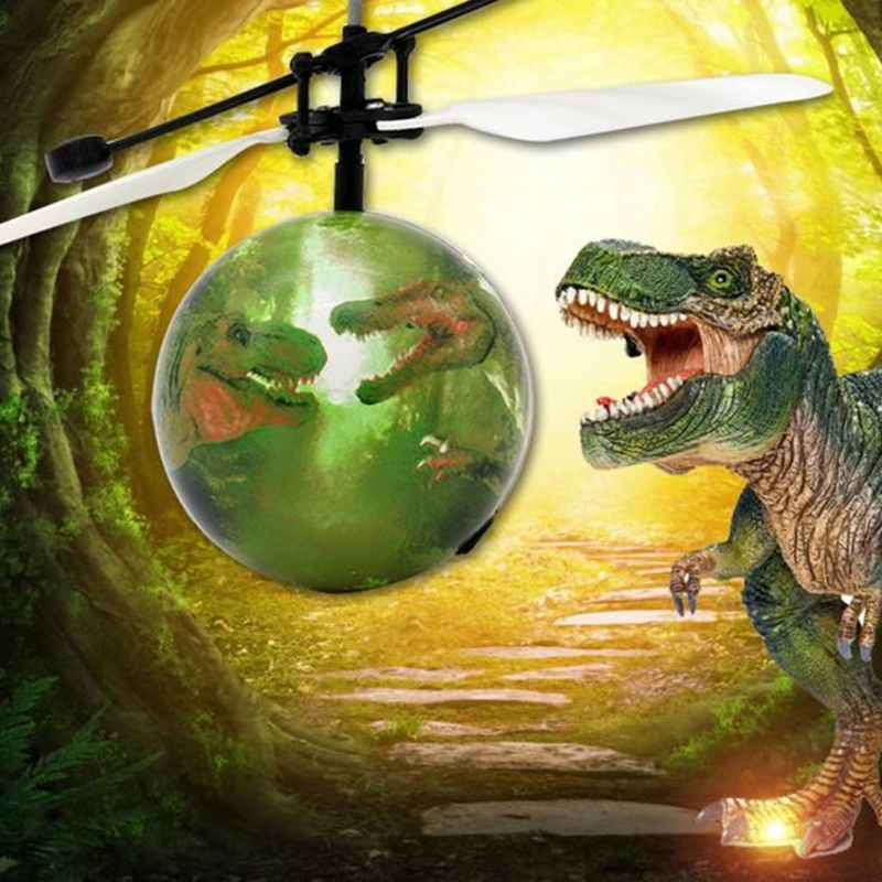 Electric RC Flying Ball Infrared Sensor Dinosaur Pattern Helicopter LED Flash Toy for Kids