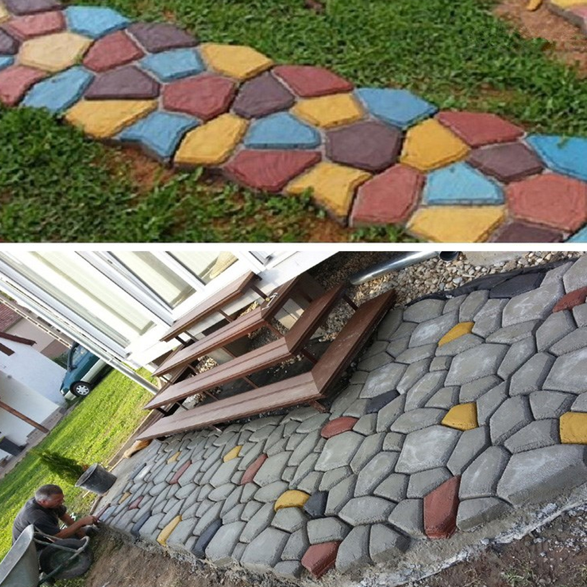 65×50CM Driveway Paving Pavement Stone Walk Maker Mould Concrete Stepping Road Garden DIY Mold